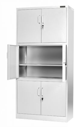 Stratford Light Grey Metal Cabinet 6 Door Cupboard 6 Shelves 185cm Tall Storage