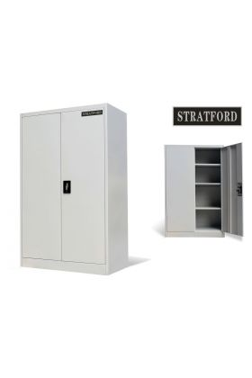 Stratford Metal Cabinet 2 Door Cupboard 3 Shelves 140cm Tall Storage Industrial