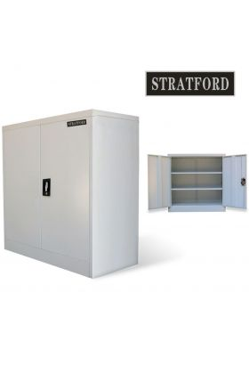 Stratford Metal Cabinet 2 Door Cupboard 3 Shelves 90cm Tall Storage Industrial