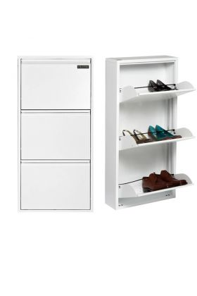 Stratford pre-assembled Metal Steel Three Door Shoe Wall Rack Storage Cabinet Cupboard in White