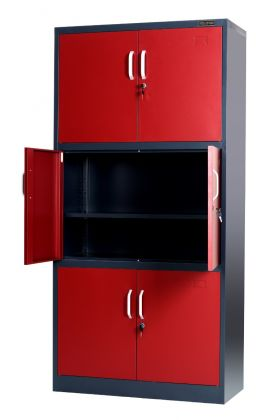 Stratford Red Metal Cabinet 6 Door Cupboard 6 Shelves 185cm Tall Storage Industrial