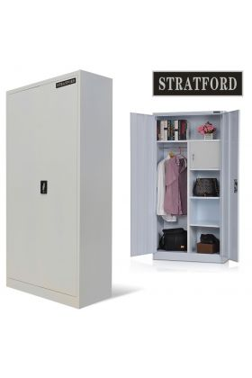 Stratford steel storage cupboard wardrobe metal shelving tool cabinet 185cm tall