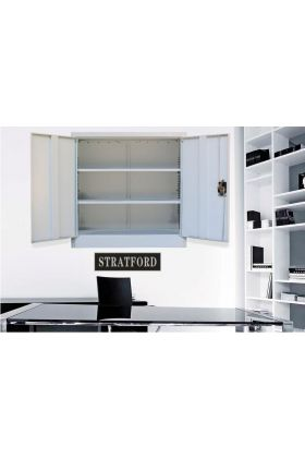 Wall Mountable Stratford Metal Cabinet 2 Door Cupboard 3 Shelves 90cm Tall Storage Industrial