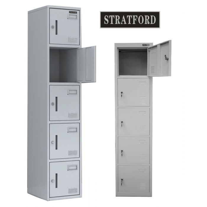 Stratford Five Door Key Lockable Office or Gym Storage Locker Steel Metal School Staff Locker