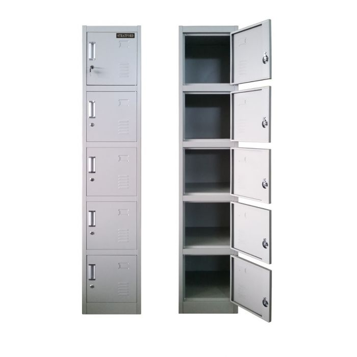 Stratford Premium Heavy Duty Five Door Key Lockable Office or Gym Storage Locker Steel Metal School Staff