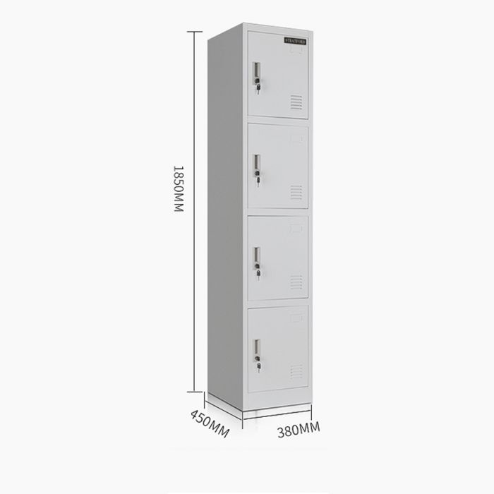 Stratford Premium Heavy Duty Four Door Key Lockable Office or Gym Storage Locker Steel Metal School Staff