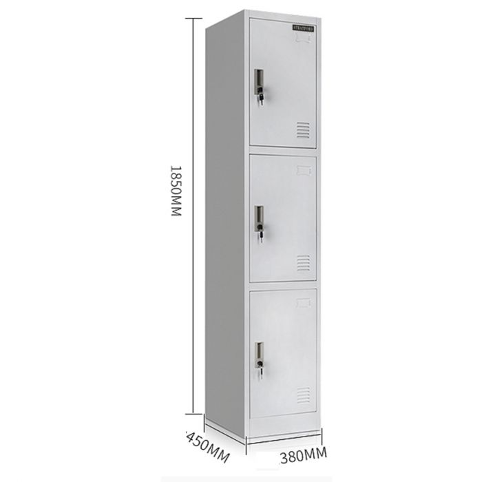 Stratford Premium Heavy Duty Three Door Key Lockable Office or Gym Storage Locker Steel Metal School Staff