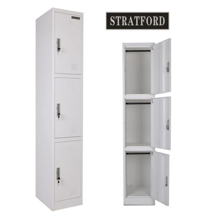 Stratford Three Door Key Lockable Office or Gym Storage Locker Steel Metal School Staff Locker