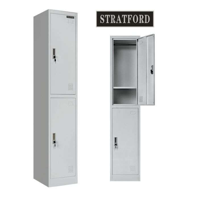 Stratford Two Door Key Lockable Office or Gym Storage Locker Steel Metal School Staff Locker